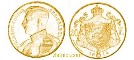 Zlatnik 20 franc Albert, belgijski kralj