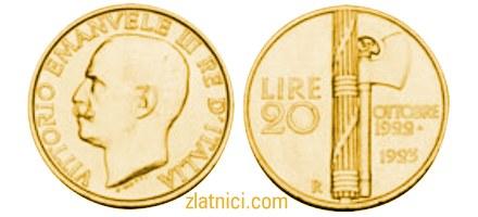 Zlatnik 20 lira Vittorio Emanvele III, Italija