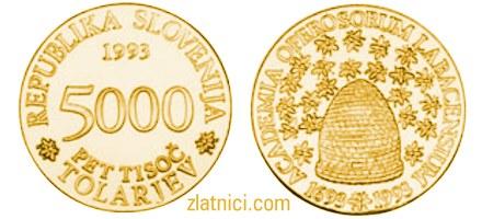 Zlatnik 5000 tolarjev Academia Operosorum