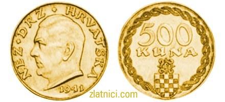Zlatnik 500 kuna Poglavnik Ante Pavelić, Nez. Država Hrvatska