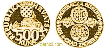 Zlatnik 500 kuna Zagrebačka biskupija