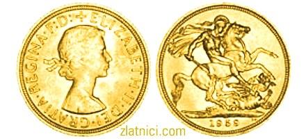 Zlatnik Sovereign Elizabeth II s vrpcom u kosi