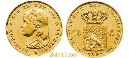 Zlatnik 10 gulden Wilhelmina, nizozemska kraljica
