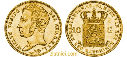 Zlatnik 10 gulden Willem I, kralj nizozemski