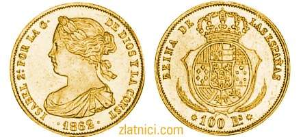 Zlatnik 100 reales Isabel