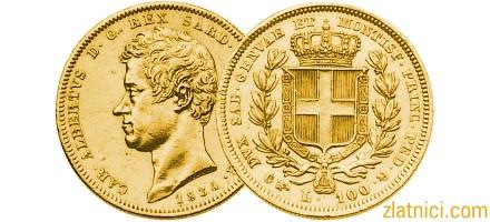 Zlatnik 100 lira Albertvs Sardinija