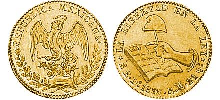 Zlatnik 2 escudos Libertad, Meksiko