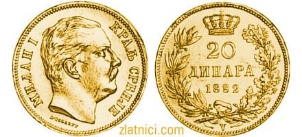 Zlatnik 20 dinara kralj Milan Obrenović, Kraljevina Srbija