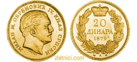 Zlatnik 20 dinara Milan Obrenović, knjaz srpski