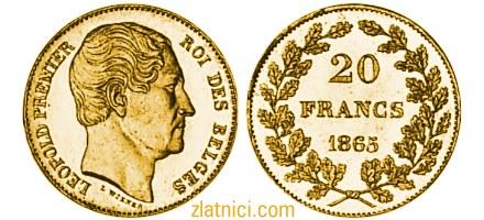 Zlatnik 20 franc Leopold Premier