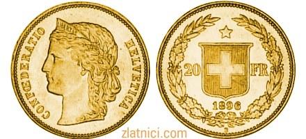 Zlatnik 20 fr Confederatio Helvetica