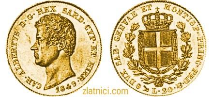 Zlatnik 20 lira Albertvs Sardinija, Italija
