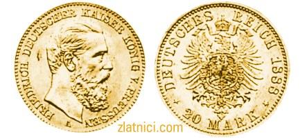 Zlatnik 20 mark Friedrich Deutscher Kaiser V. Preussen