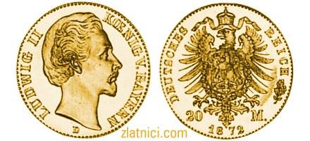 Zlatnik 20 mark Ludwig II v. Bayern