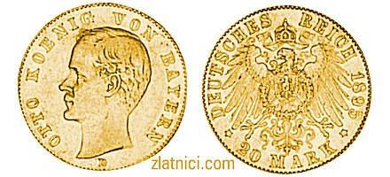 Zlatnik 20 mark Otto Koenig Von Bayern, Njemačka