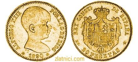 Zlatnik 20 pesetas Alfonso XIII beba, Španjolska