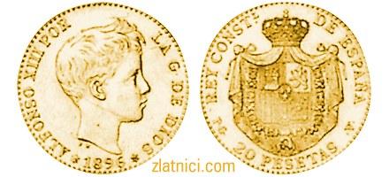 Zlatnik 20 pesetas Alfonso XIII, dječak, Španjolska