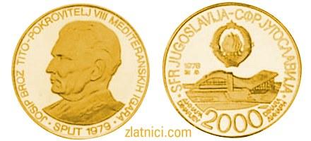 Zlatnik 2000 dinara Mediteranske igre Split, SFRJ