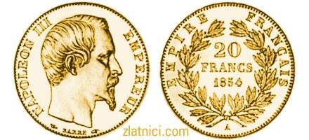 Zlatnik 20 francs Napoleon III, maslinove grančice