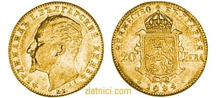 Zlatnik 20 leva Ferdinand knez Bugarski