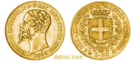 Zlatnik 20 lira Victorivs Emmanvel II, Sardinija
