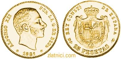Zlatnik 25 pesetas Alfonso XII, Španjolska
