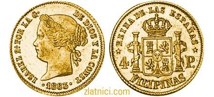 Zlatnik 4 pesos Isabel, Filipini
