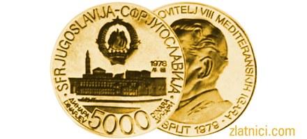 Zlatnik 5000 dinara Mediteranske igre Split, SFRJ