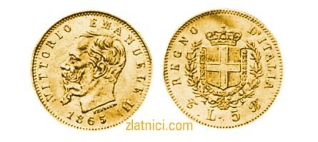 Zlatnik 5 lira Vittorio Emanuele II, Regno D'Italia