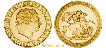 Zlatnik Sovereign Georgius III Britanniar Rex