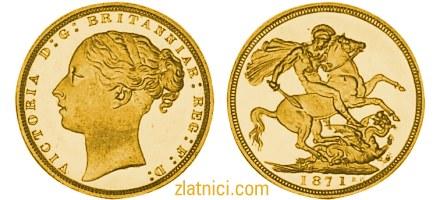 Zlatnik Sovereign mlada Victoria, Velika Britanija