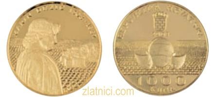 Zlatnik 1000 kuna Marin Držić, Hrvatska