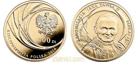 Zlatnik 100 zloty Kanonizacja Jana Pawla II, Poljska