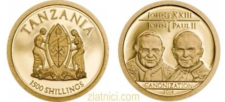 Zlatnik 1500 schilling Canonization, Tanzanija