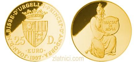 Zlatnik 25 diner Rimski ugovori, Andora