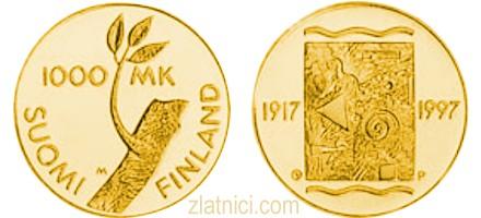 Zlatnik 1000 markkaa Finska neovisnost