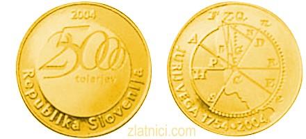 Zlatnik 25000 tolarjev Jurij Vega, Slovenija