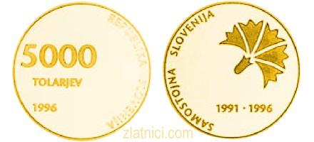 Zlatnik 5000 tolarjev Samostojna Slovenija, 1996