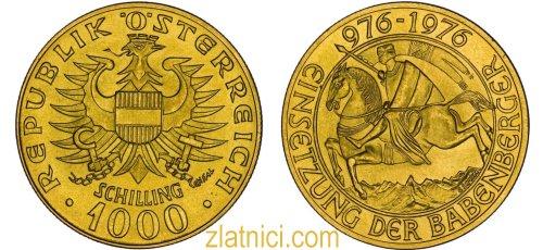 Zlatnik 1000 schilling Babenberger, 1976