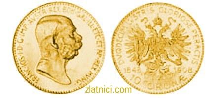 Zlatnik 10 coronae Franc Ios, stariji lik cara Franje Josipa