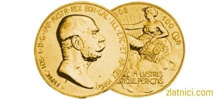 Zlatnik 100 coronae Franc Ios, stariji, 60 godina vladavine