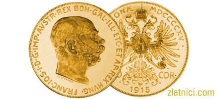 Zlatnik 100 coronae Franc Ios, stariji lik cara Franje Josipa