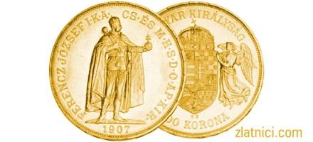 Zlatnik 100 korona Ferencz Jozsef s grbom
