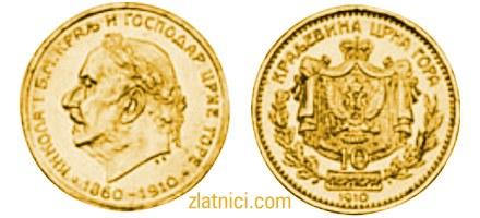 Zlatnik 10 perpera Nikola I, 50 godina, zlatna kovanica, Crna Gora