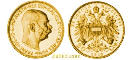 Zlatnik 20 coronae Franc Ios, car Franjo Josip I stariji