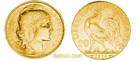 Zlatnik 20 francs Pijetao, Francuska