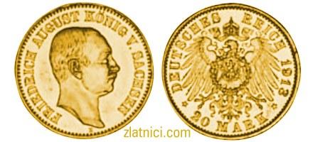 Zlatnik 20 mark Friedrich August V. Sachsen