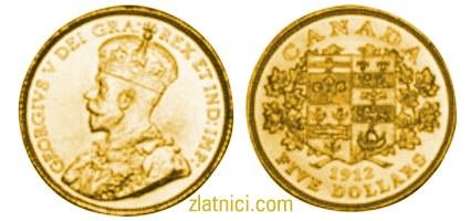 Zlatnik 5 dollars Georgivs V, Kanada, zlatna kovanica