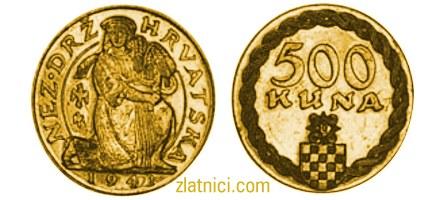 Zlatnik 500 kuna Žetelica, Nezavisna Država Hrvatska