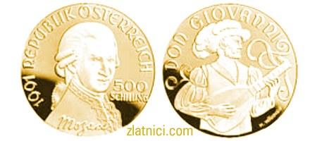 Numizmatika, zlatnik 500 schilling Mozart Don Giovanni, zlatna kovanica